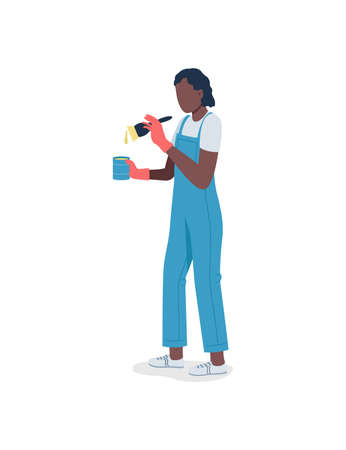 African american woman with paint flat color vector faceless character. Person in uniform with paintbrush. DIY home improvement isolated cartoon illustration for web graphic design and animation Illustration