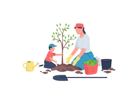 Family planting tree together flat color vector faceless characters. Home yard maintenance. Mom with son. Spring garden work isolated cartoon illustration for web graphic design and animation