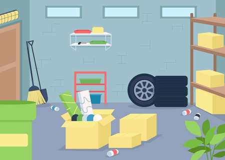 Garage junk flat color vector illustration. Spring cleaning and decluttering. Organize mess in home. Housekeeping work. Cluttered house 2D cartoon interior with furniture on background