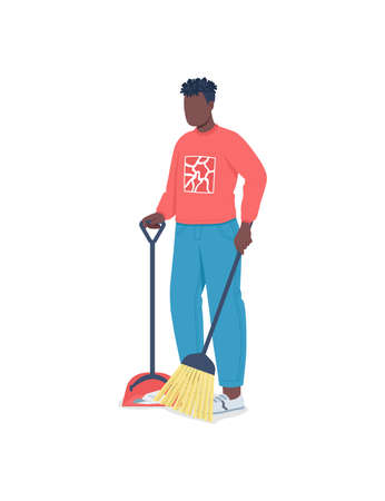 African american man cleaning floor flat color vector faceless character. Guy doing chores. Seasonal cleanup. Spring home cleaning isolated cartoon illustration for web graphic design and animation Illustration