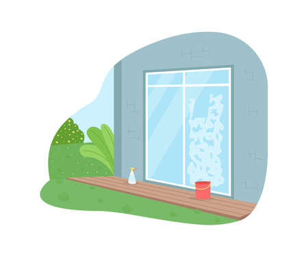 Wash window from outside 2D vector web banner, poster. Seasonal spring cleaning. Housekeeping flat scene on cartoon background. House exterior printable patch, colorful web element Illustration
