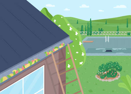 Spring roof cleaning from leaves flat color vector illustration. House and garden maintenance. Summer season. Modern country living. Suburban home 2D cartoon scene with landscape on background