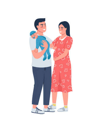 Young happy family flat color vector detailed character. Father hold baby. Couple with child. Pregnant mother. Parenthood isolated cartoon illustration for web graphic design and animation