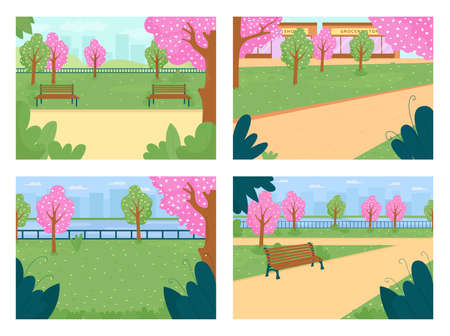 Spring park flat color vector illustration set. Street with blooming trees. Pink flowers. Town lawn, meadow. Outdoor recreation. Springtime 2D cartoon cityscape with skyline on background collection