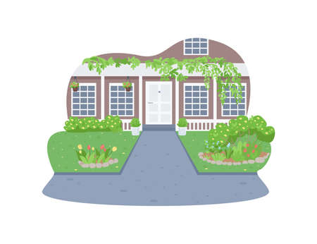 Modern suburban home exterior 2D vector web banner, poster. Luxury residential house entrance flat scenery on cartoon background. Spring season printable patch, colorful web element Illustration