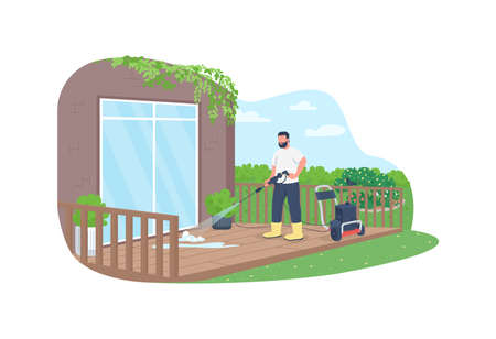 Deck cleaning with power wash gun 2D vector web banner, poster. Professional cleaner flat characters on cartoon background. Spring outside housekeeping work printable patch, colorful web element