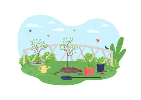 Gardening 2D vector web banner, poster. Horticulture and plant care. Watering stem. Spring yard flat scenery on cartoon background. Tree cultivating printable patch, colorful web element Illustration
