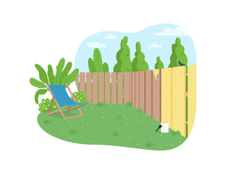 Garden fence painting 2D vector web banner, poster. House maintenance. Outdoor renovation in spring. Backyard flat scene on cartoon background. Yard printable patch, colorful web element Illustration
