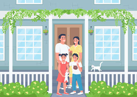 Happy family posing on house patio flat color vector illustration. Spring season. Relatives on porch. Smiling parents with children 2D cartoon characters with residential home exterior on background Illustration