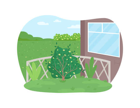 Garden maintenance 2D vector web banner, poster. Plant care. Cultivate bush, horticulture. House backyard flat scene on cartoon background. Yard care printable patch, colorful web element Illustration