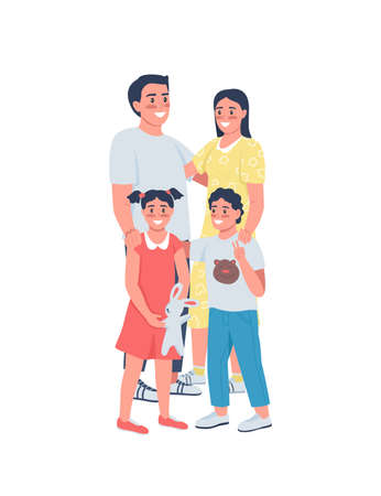 Happy family flat color vector detailed characters. Smiling parents with children. Mother, father with kids. Generations of relatives isolated cartoon illustration for web graphic design and animation