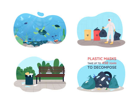 Covid rubbish 2D vector web banner, poster set. Water pollution after pandemic. Cleaning environment flat characters on cartoon background. Trash printable patch, colorful web element collection