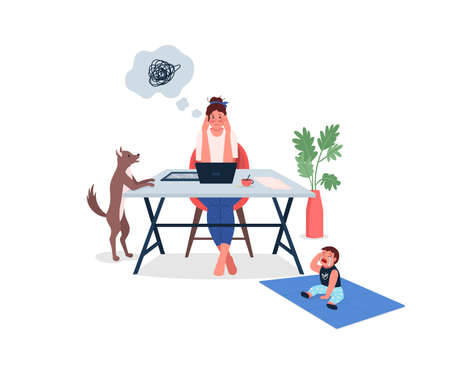 Overwhelmed working mother flat color vector detailed characters. Mom struggle with work-life balance. Stress and burnout isolated cartoon illustration for web graphic design and animation