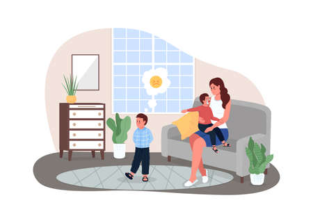 Mother with fighting children 2D vector web banner, poster. Child telling on brother. Upset kids with mom flat characters on cartoon background. Family conflict printable patch, colorful web element