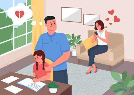 Infidelity problem in family flat color vector illustration. Woman chatting on mobile phone. Jealous husband. Daughter study. Family 2D cartoon characters with home interior on background Vektorové ilustrace