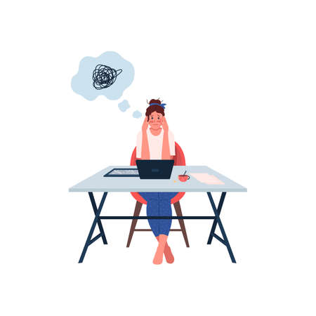Stressed woman at workplace flat color vector detailed character. Overworked and tired female employee. Anxiety from work isolated cartoon illustration for web graphic design and animation