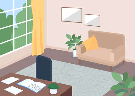 Study room flat color vector illustration. Desk with open textbook. Book on table. Living room with furniture. Indoor cabinet space. Family home 2D cartoon interior with couch on background