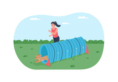 Obstacle course for training dogs 2D vector web banner, poster. Happy woman runs with pet flat characters on cartoon background. Competition for doggies printable patch, colorful web element