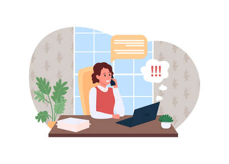 Work phone call 2D vector web banner, poster. Project on deadline. Corporate communication. Office manager flat character on cartoon background. Businesswoman printable patch, colorful web element