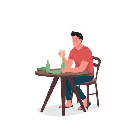 Alcoholic man flat color vector detailed character. Bad toxic habit. Sad guy. Dependence on alcohol. Substance abuse isolated cartoon illustration for web graphic design and animation