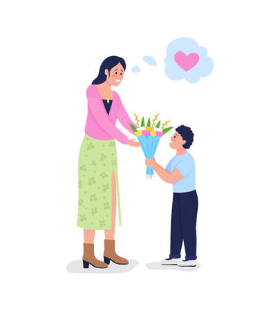 Son giving mother flowers flat color vector detailed characters. Boy surprising smiling mom with bouquet. Mothers day isolated cartoon illustration for web graphic design and animation