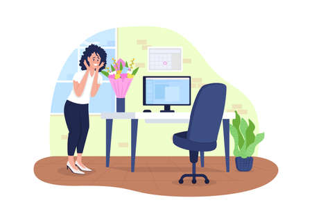 Flowers delivery to office 2D vector web banner, poster. Surprised woman flat characters on cartoon background. Gesture of affection, receiving gift printable patch, colorful web element