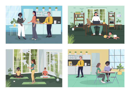 Corporate wellness flat color vector illustration set. Healthy lifestyle. Mediation, coffee break. Home office. Employees 2D cartoon characters with interior on background collection