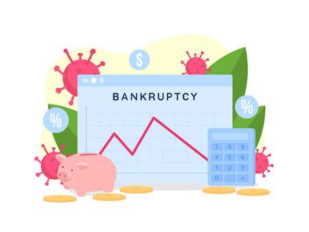 Bankruptcy rate flat concept vector illustration. Financial problem. Graph presentation. Money loss for business. Economic depression 2D cartoon scene for web design. Financial recession creative idea