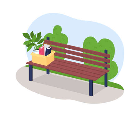 Box of fired employee in park bench 2D vector web banner, poster. Fired from work, laid off from job. Outdoor flat scenery on cartoon background. Unemployment printable patch, colorful web element