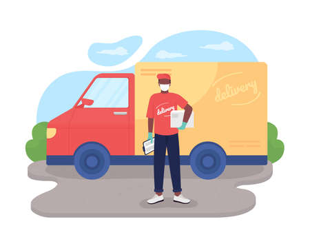 Safe delivery 2D vector web banner, poster. African american courier in mask flat characters on cartoon background. Essential service during pandemic printable patch, colorful web element