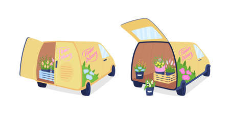 Flower delivery vans flat color vector object set. Shipping floral arrangements. Truck with bouquets in trunk isolated cartoon illustration for web graphic design and animation collection