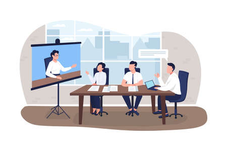 Business meeting 2D vector web banner, poster. Projector screen with instructor. Businesspeople training flat characters on cartoon background. Office printable patch, colorful web element