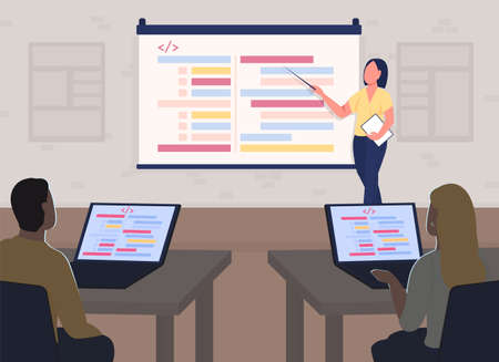 Programming course flat color vector illustration. Seminar information on projector screen. Professional training. Coding students, teacher 2D cartoon characters with classroom interior on background