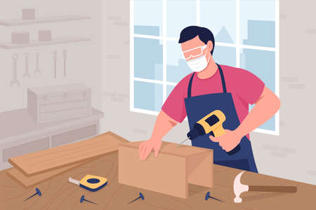 Male carpenter in mask and protective glasses at work flat color vector illustration. Creative craft and hobby. Handyman 2D cartoon character with woodworking studio interior on background