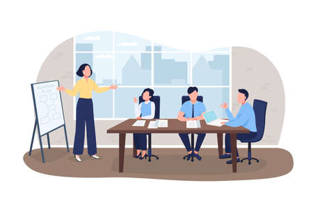 Business planning 2D vector web banner, poster. Businesspeople flat characters on cartoon background. Seminar on marketing. Professional workshop printable patch, colorful web element