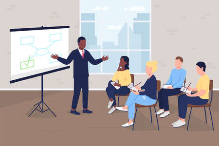Business training flat color vector illustration. Corporate office. Professional workshop. Marketing master class. Businesspeople 2D cartoon characters with company interior on background 矢量图像