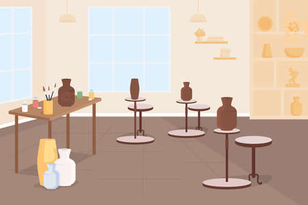Pottery class flat color vector illustration. Learn creative craft for hobby. Pottery wheel. Handmade ceramics. Make vase from clay. Classroom 2D cartoon interior with furniture on background 矢量图像