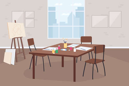 Art classroom flat color vector illustration. Artistic hobby class. Learn painting. Drawings on table. Classroom for workshop 2D cartoon interior with easel, furniture on background