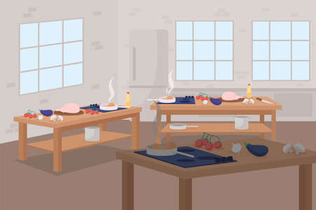 Culinary class flat color vector illustration. Tables with food for cookery course. Prepare meal. Learn to make dinner. Cooking workshop 2D cartoon scene with cafe interior on background