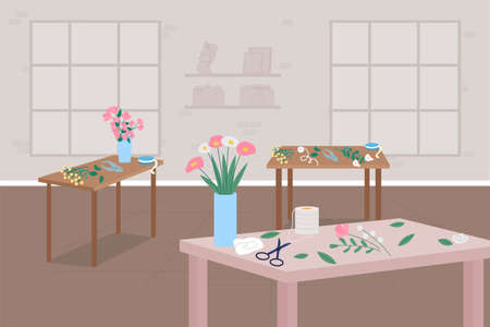 Floristry workshop flat color vector illustration. Learn hobby. Floral arrangements. Making bouquets in vases. Flower shop interior 2D cartoon interior with furniture on background