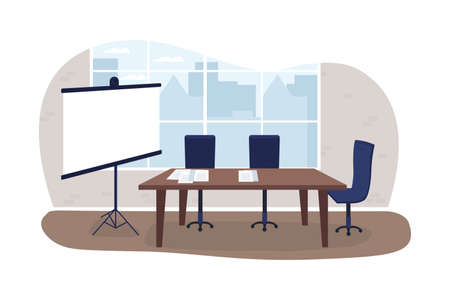 Business presentation 2D vector web banner, poster. Showing report on project screen. Marketing planning flat scene on cartoon background. Corporate interior printable patch, colorful web element