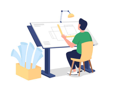 Male architect at work flat color vector faceless character. Designer drawing floor blueprint. Professional workshop isolated cartoon illustration for web graphic design and animation