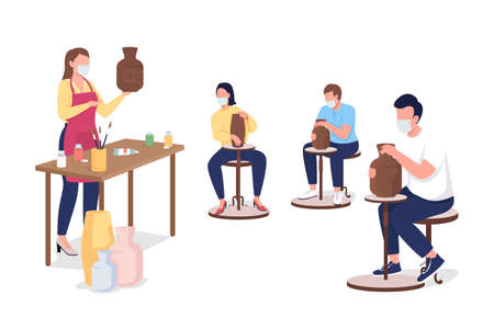 Pottery workshop students and teacher in face masks flat color vector faceless characters. Craft class during epidemic isolated cartoon illustration for web graphic design and animation