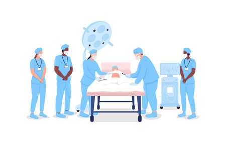 Medical interns watching professional surgeons at procedure flat color vector faceless characters. Medical training isolated cartoon illustration for web graphic design and animation