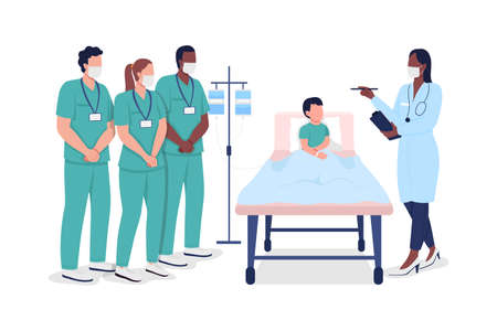 Medical interns during professional training flat color vector faceless characters. Hospital treatment. Healthcare specialists isolated cartoon illustration for web graphic design and animation 矢量图像