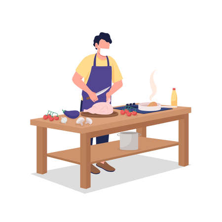 Male cook in face mask flat color vector faceless character. Man preparing food. Cooking, culinary class during epidemic isolated cartoon illustration for web graphic design and animation