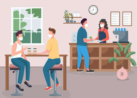 Coffee shop during pandemic flat color vector illustration. Friends drink tea. Espresso bar. Customers and barista in medical masks 2D cartoon characters with cafeteria interior on background