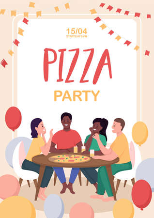 Pizza party poster flat vector template. Friends spending time together. Fun recreation. Brochure, booklet one page concept design with cartoon characters. Pastime activity flyer, leaflet 矢量图像
