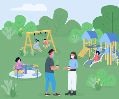 Playground during pandemic flat color vector illustration. Kids playtime during quarantine. Parents in medical masks with children playing in park 2D cartoon characters with outdoors on background 矢量图像