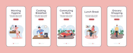 Daily routine onboarding mobile app screen flat vector template. Cooking breakfast. Walkthrough website steps with characters. UX, UI, GUI smartphone cartoon interface, case prints set